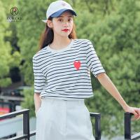 欧若珂 2018夏季黑白条纹心型印花贴布宽松短袖T恤女