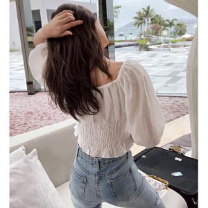 谜秀衬衫女2018夏装新款韩范修身复古上衣灯笼袖洋气小衫夏女装潮