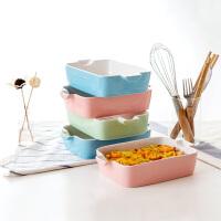陶瓷芝士�h饭盘创意长方形早餐盘子家用餐具烘焙烤盘个性西餐菜盘