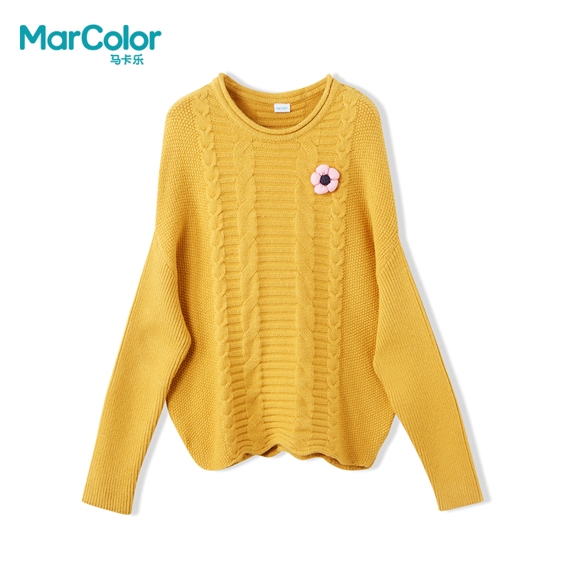 【领券119元4件】巴拉巴拉旗下马卡乐女童秋装廓形设计毛衣甜美精致上衣