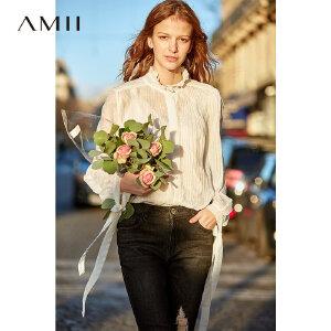 【到手价:155.9元】Amii极简洋气超仙重工雪纺衫女2019春季新木耳边立领绑带压褶上衣