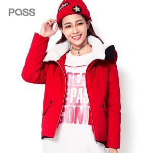PASS棉衣女短款冬装新款连帽棉服女学生外套加厚棉袄 红色
