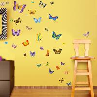 50只蝴蝶墙贴 DIY组合贴画儿童房卧室客厅装饰贴可移除墙贴纸贴图 50只蝴蝶 买两件起加送9只蝴蝶 大