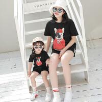 亲子装夏装新款潮一家三口装韩版母女装母子装家庭套装两件套