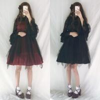 日系朋克哥特式高腰纱裙jsk背心裙荷叶边连衣裙女Lolita吊带裙子xx