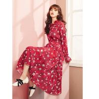 长袖雪纺连衣裙女春季2019新款小个子高腰显瘦仙女星星碎花裙长裙 红色