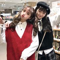 春装韩版学院风V领针织马甲背心+长袖白衬衫打底两件套衬衣女学生