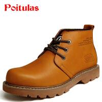 波图蕾斯秋男靴秋冬季疯马皮马丁靴男士短靴工装靴男军靴沙漠靴中帮靴战靴