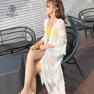 欧若珂   2018夏季中长款沙滩海边外搭防晒开衫薄外套蕾丝罩衫