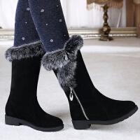 2018冬新款雪地靴女中筒靴子面加绒保暖棉鞋厚底防滑短靴 TBP