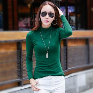 秋季新款韩版十字绣长袖T恤打底衫修身女士上衣