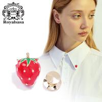 皇家莎莎领针领扣女衬衫领子小草莓可爱领花衣领胸针女情人节礼物