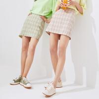 【1件3折价:101.7,26日0点可叠券】美特斯邦威格子短裙女包臀夏季开叉时尚流行洋气学生女士裙子