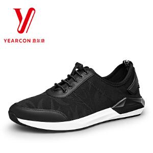 意尔康男鞋2017新款时尚男士单鞋透气网纱潮男系带运动休闲跑步鞋
