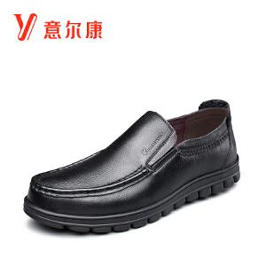 【真皮商务休闲套脚男鞋】意尔康男鞋2018新款秋季新款男士单鞋