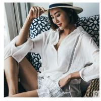 新款沙滩外套人上衣白色衬衫欧美风棉比基尼泳衣罩衫开衫长袖