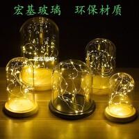 创意装饰品摆件透明玻璃罩火树银花小夜灯串七夕圣诞礼物