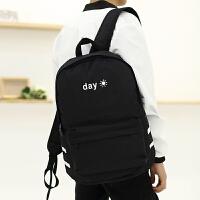 双肩包男时尚潮流日韩版帆布背包休闲青年初中学生书包旅行电脑包 黑色太阳