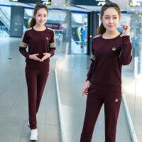 运动套装女春秋季18-25周岁学生长袖圆领套头显瘦新款韩版休闲服