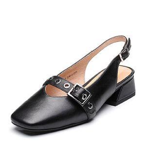 Tata/他她2018春专柜同款羊皮通勤方头粗跟女皮凉鞋FI001AH8