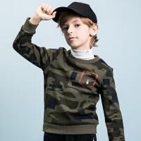 【3折价:120元】暇步士童装冬季新款男童加绒卫衣迷彩卫衣儿童加绒加厚卫衣