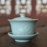 龙泉青瓷盖碗大号茶杯泡茶茶具家用陶瓷复古三才盖碗套装功夫茶碗