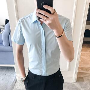 夏季修身衬衣男士韩版商务衣服寸衫纯色短袖衬衫男装潮11