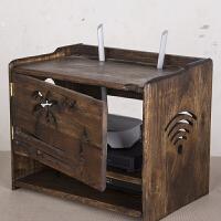 实木无线路由器收纳盒WIFI盒子机顶盒置物架插线板插排电线收纳盒
