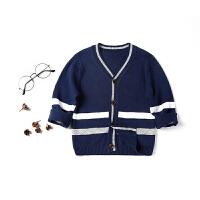 儿童装上衣男童宝宝春装V领单排扣纯棉针织衫开衫薄外套