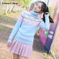 13141516岁初高中学生秋冬装高领羊毛衫韩版少女加厚毛衣 蓝色