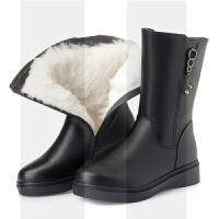 冬季中筒靴女平跟真皮妈妈棉鞋平底防滑中老年加绒保暖羊毛女靴子SN2368