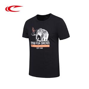 赛琪夏季新款男士运动短袖T恤男青年跑步上衣印花半袖圆领体恤衫116407