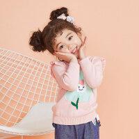 【1件3折到手价:53.7】moomoo童装女童毛衣2019新款春装纯棉韩版小儿童宝宝套头毛衫