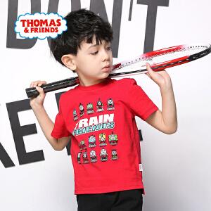【促】托马斯正版童装男童夏装2018夏季新款全棉短袖印花圆领T恤上衣