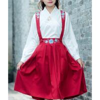 民国学生装班服校服改良汉服中国风古装服装绣花背带半身裙套装女1 红色 套装
