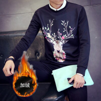 冬季男士卫衣加绒加厚 保暖衣服小衫长袖T恤学生上衣秋装9.9克 2X