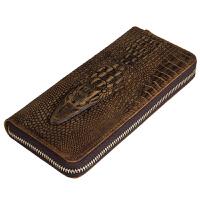 鳄鱼纹手包真皮复古长款钱包商务休闲大容量男士牛皮手拿包男包潮
