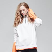 【满1000减750】美特斯邦威卫衣女装秋季新款HSTLY潮流拉链宽松套头衫
