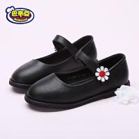 巴布豆童鞋 女童皮鞋2018春季新款真皮皮鞋黑色公主单鞋演出鞋