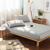 无印床笠单件纯棉全棉 良品床单天竺棉针织棉纯色1.5m1.8 浅灰色 雅灰中条
