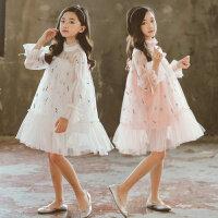 韩版女童连衣裙春秋季薄款裙子长袖中大童网纱公主裙儿童夏装