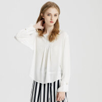 【1件2折到手价:99.8】MECITY女装性感V领简约后背拉链袖口钉珠仙范白色长袖衬衫