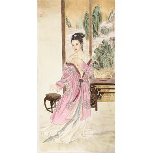 王美芳《美女婉纱》著名画家