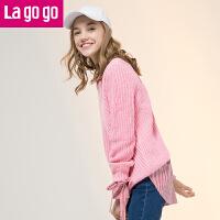 【秒杀价107】Lagogo2019冬季新款女装条纹小清新长袖针织衫后开叉个性打底衫