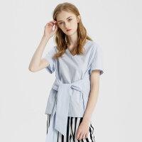 【1件3折到手价:119.7】纯棉MECITY女新款打结V领套头短袖T恤