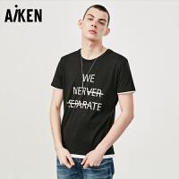 森马旗下爱肯Aiken男装短袖T恤夏日新款圆领体恤字母清新潮流青年衣服