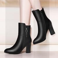 女鞋保暖中筒靴女加绒2018新款靴子冬季高跟鞋粗跟皮鞋女士短靴女SN5860