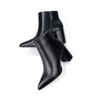 2018冬秋新款及踝尖�^粗跟�W洲站百搭英���L�R丁切��西女高跟短靴�底 黑色