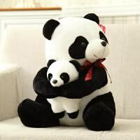 卡通毛绒玩具红丝带母子熊猫公仔玩偶娃娃可Logo 白