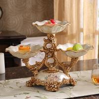 欧式双层干果盘 家居客厅茶几装饰品礼品 美式复古创意水果盘摆件